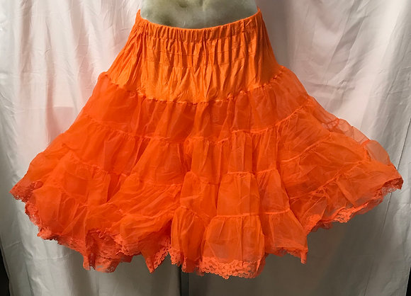 Deluxe Orange Colour Petticoat Crinoline with Lace Trim
