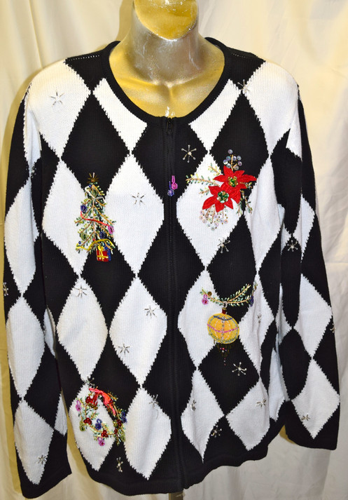 Vintage Christmas Sweaters.Vintage Checker Christmas Sweater Xl