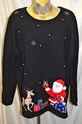 Vintage Santa & Reindeer Christmas Sweater XL