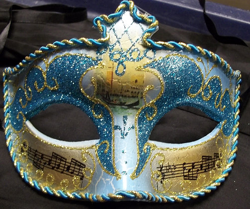 Blue and Gold with Music Notes Masquerade Mask