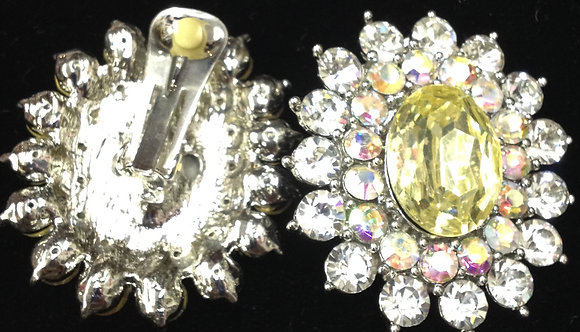 Floral Design with Large Gem  Clip-on Earrings