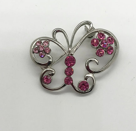 Butterfly Brooch Pin with Pink Rhinestones