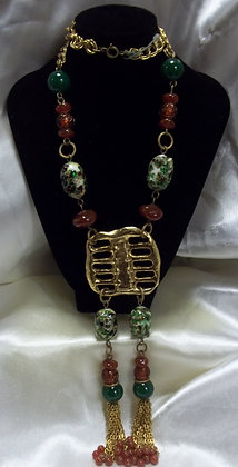 Murano Glass, Red and Green Agate Beaded Necklace