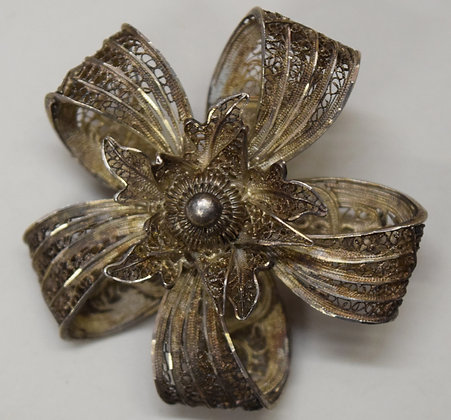 Antique Sterling Silver Floral Brooch Pin