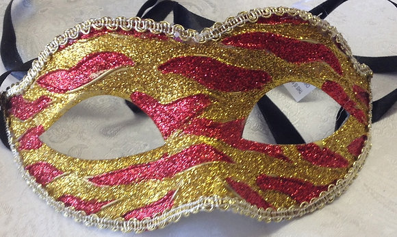 Sparkle Flame Masquerade Mask Red and Gold