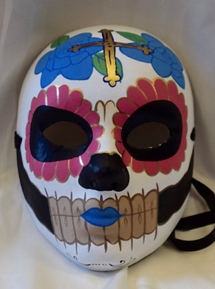 Day of The Dead Full Face Masquerade Mask Pink, Blue, Gold & Black