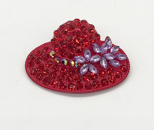 Red Hat Brooch Pin with Red & Purple Rhinestones