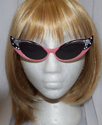 Black & Pink Titnted Cats Eye Costume Glasses