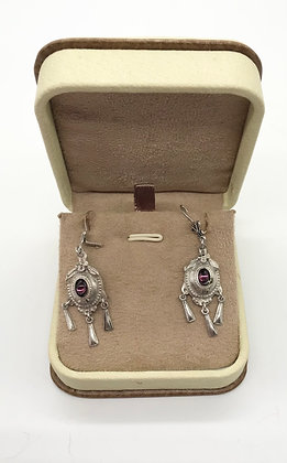 Vintage Victorian Chandelier Style Silver Earrings with Amethyst