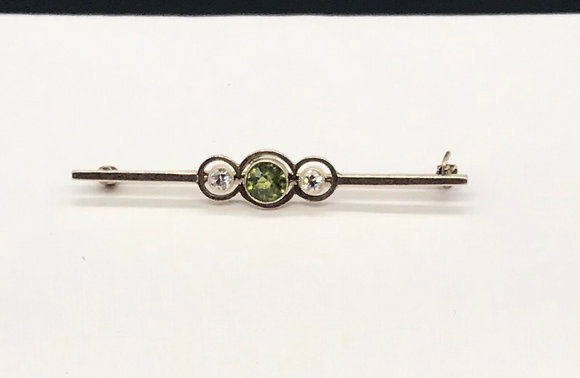 Antique Peridot and Diamonds Set in 14k Gold Bar Pin Brooch