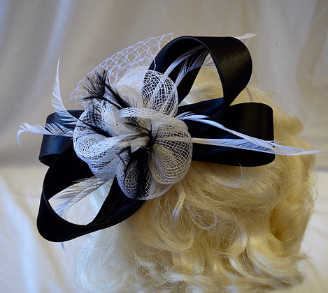 Black and White Ribbon Bow Floral Fancy Fascinator