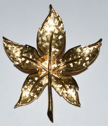 Gold Colour Leaf Brooch Pin