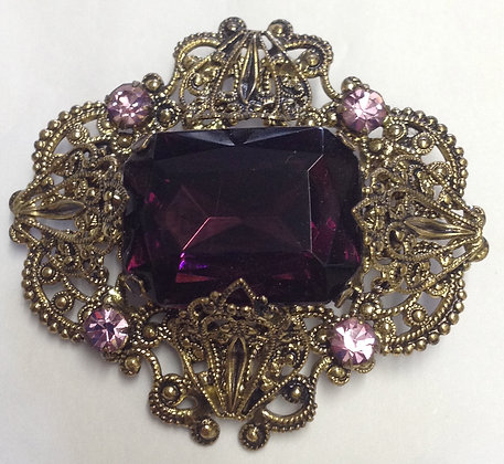 Victorian Style Purple Brooch Pin