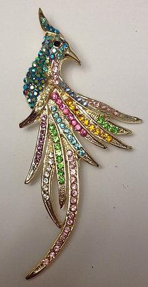 Bird Brooch Multi Coloured