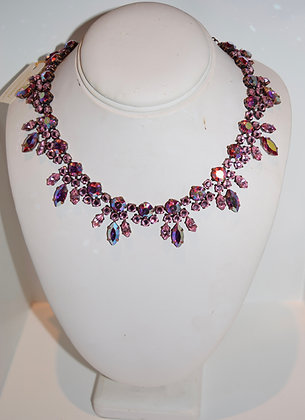 Creations Georgianni Handmade Swarovski Floral Design Necklace Pink