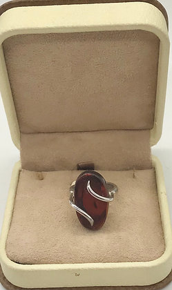Oval Shape Cherry Baltic Amber Ring Size 8