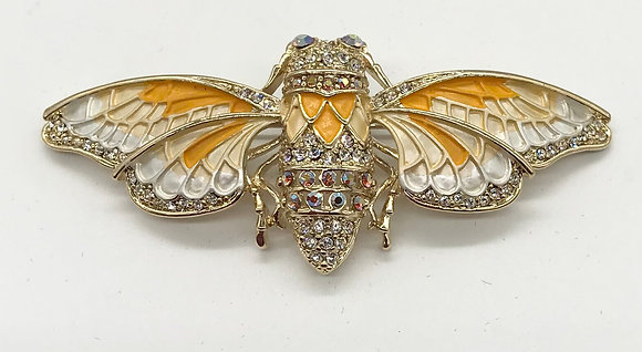 Insect Costume Brooch Yellow & Clear