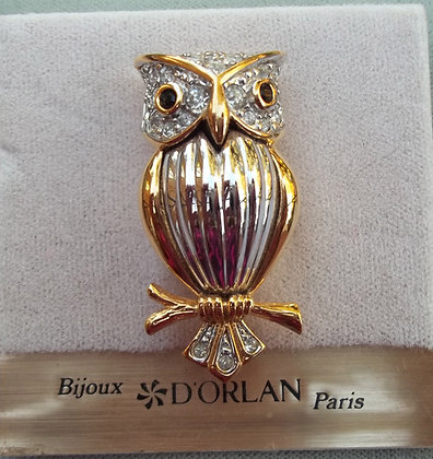 D'Orlan Costume Owl Brooch