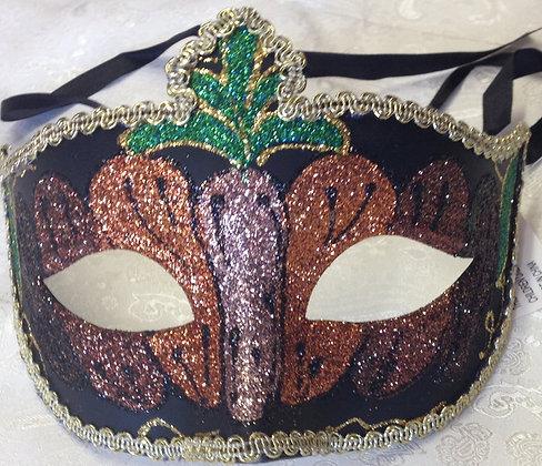 Sparkle Masquerade Mask Brown, Orange and Green