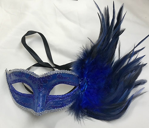 Fancy Masquerade Mask with Side Feathers Solid Navy Blue