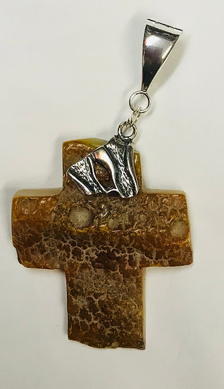 Baltic Amber Natural Butter Large Cross Pendant Style 002