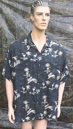 Vintage Hawaiian Aloha Luau Shirt with Palm Trees and Martini Glasses 2XL