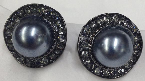 Round Shape Black Costume Pearl & Rhinestone Clip-on Earrings