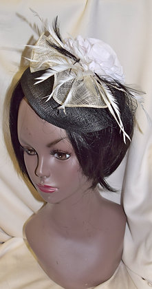 Ivory on Black Fancy Fascinator with Flower