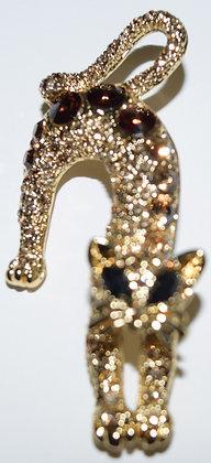 Cat Brooch Pin Bronze Colour
