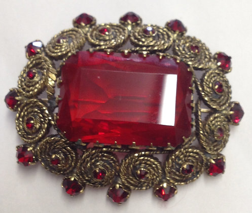 Victorian Style Brooch Pin with Red Glass Stone