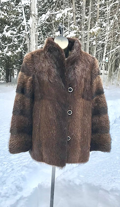 Vintage Beaver Fur Jacket Size Medium