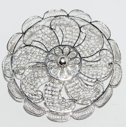 Antique Silver Filigree Floral Brooch Pin