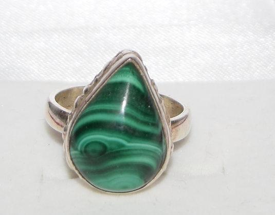 Tear Drop Shape Green Malachite & Silver Ring Size 7 1/2
