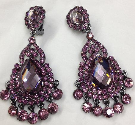 Purple Chandelier Tear Drop Clip-on Earrings