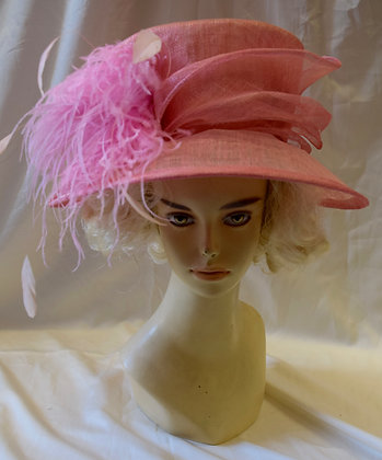 Soft Pink Fancy Derby Hat with Feathers
