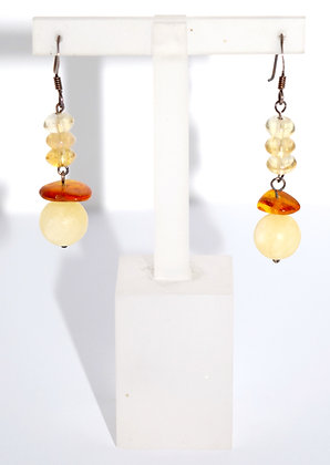 Cognac & Honey Multi Baltic Amber Beads with Silver Drop Earrings
