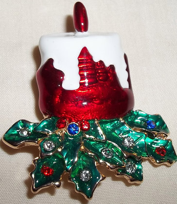 Christmas Candle Brooch Pin