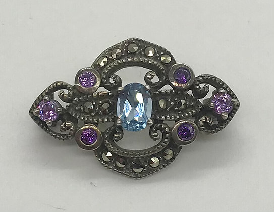 Aquamarine and Amethyst Gemstone with Marcasites Fancy Style Brooch Pin