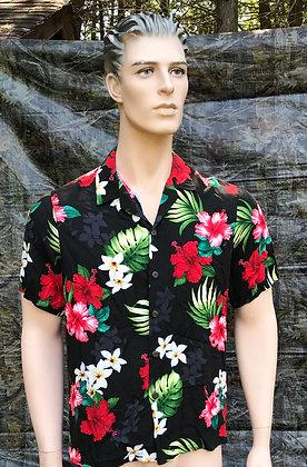 Vintage Hawaiian Aloha Shirt Black, Red, White and Green Medium
