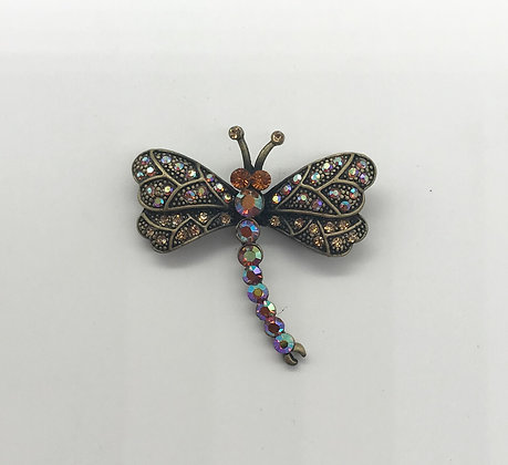 Dragonfly Brooch Pin Bronze Colour Rhinestones