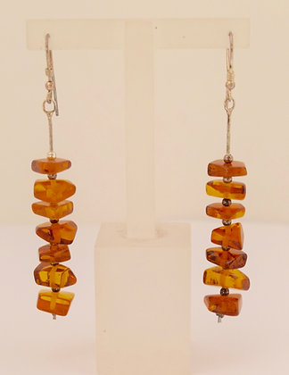 Cognac Multi Baltic Amber Beads with Silver Earrings Floral Design