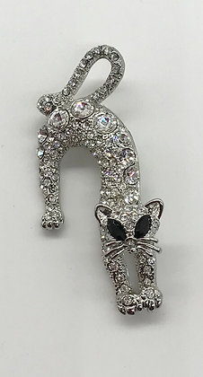 Cat Brooch Pin Clear Rhinestones