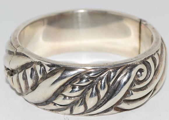 Vintage Lico Taxaco Mexico Swirl Silver Bracelet Bangle