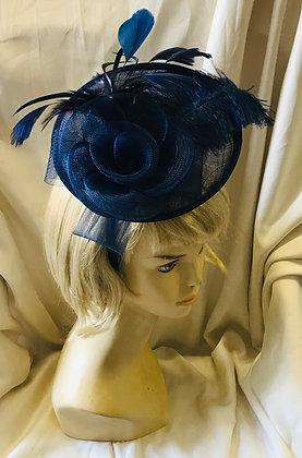 Navy Blue Fancy Fascinator with Flower and Feather Design