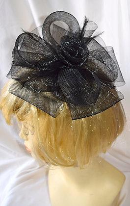 Black Classic Flower Fancy Fascinator