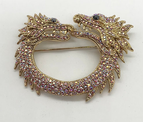 Two Headed Dragon Brooch Pin Gold Colour