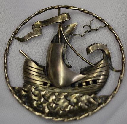 Antique Handmade A'Mor Ship Sterling Brooch Pin