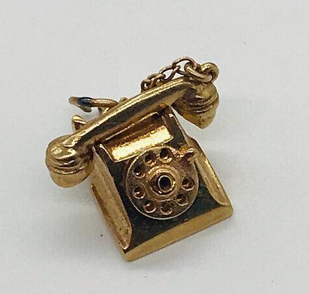 375 9k Yellow Gold Hallmarked Rotary Telephone Charm