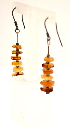 Cognac and Butter Multi Baltic Amber Beads with Silver Earrings
