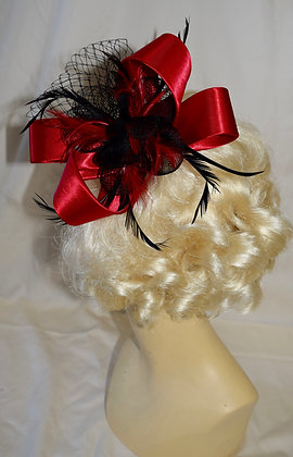 Red and Black Ribbon Bow Floral Fancy Fascinator